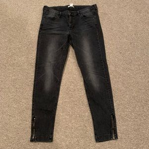 H&M Black skinny stretch  jeans with ankle zippers